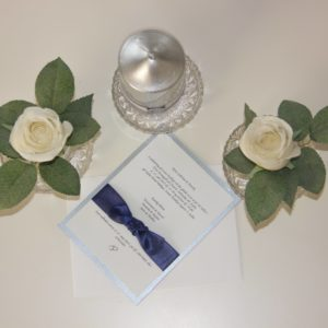 Handmade Satin Silver Invitation